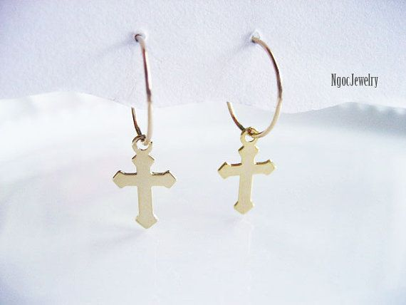 Small Gold Hoop Earrings Cross Dangle By Ngocjewelry
