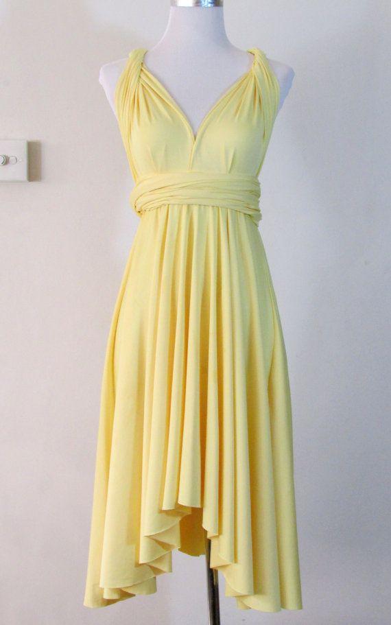 86676384376 Summer day dress Convertible Dress in pastel yellow infinity Dress Multiway  Dress Cream canary yellow sunflower light Wrap dress
