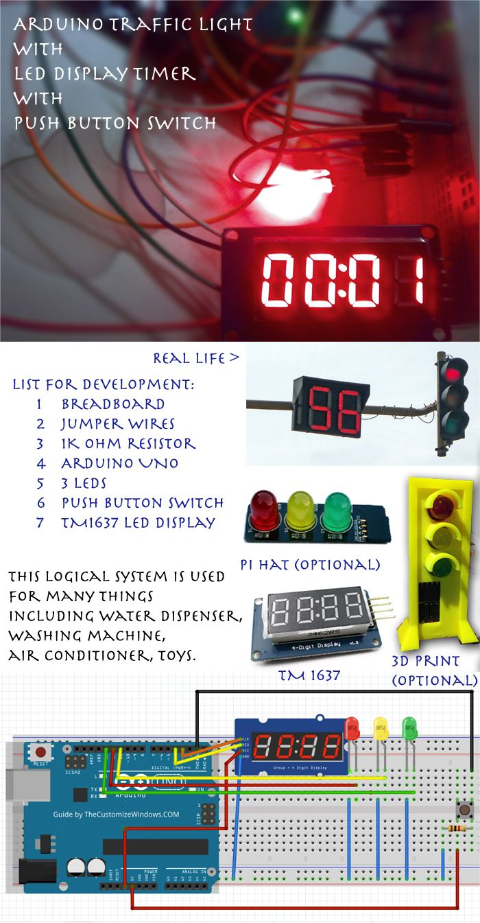 Arduino traffic light with led display timer push