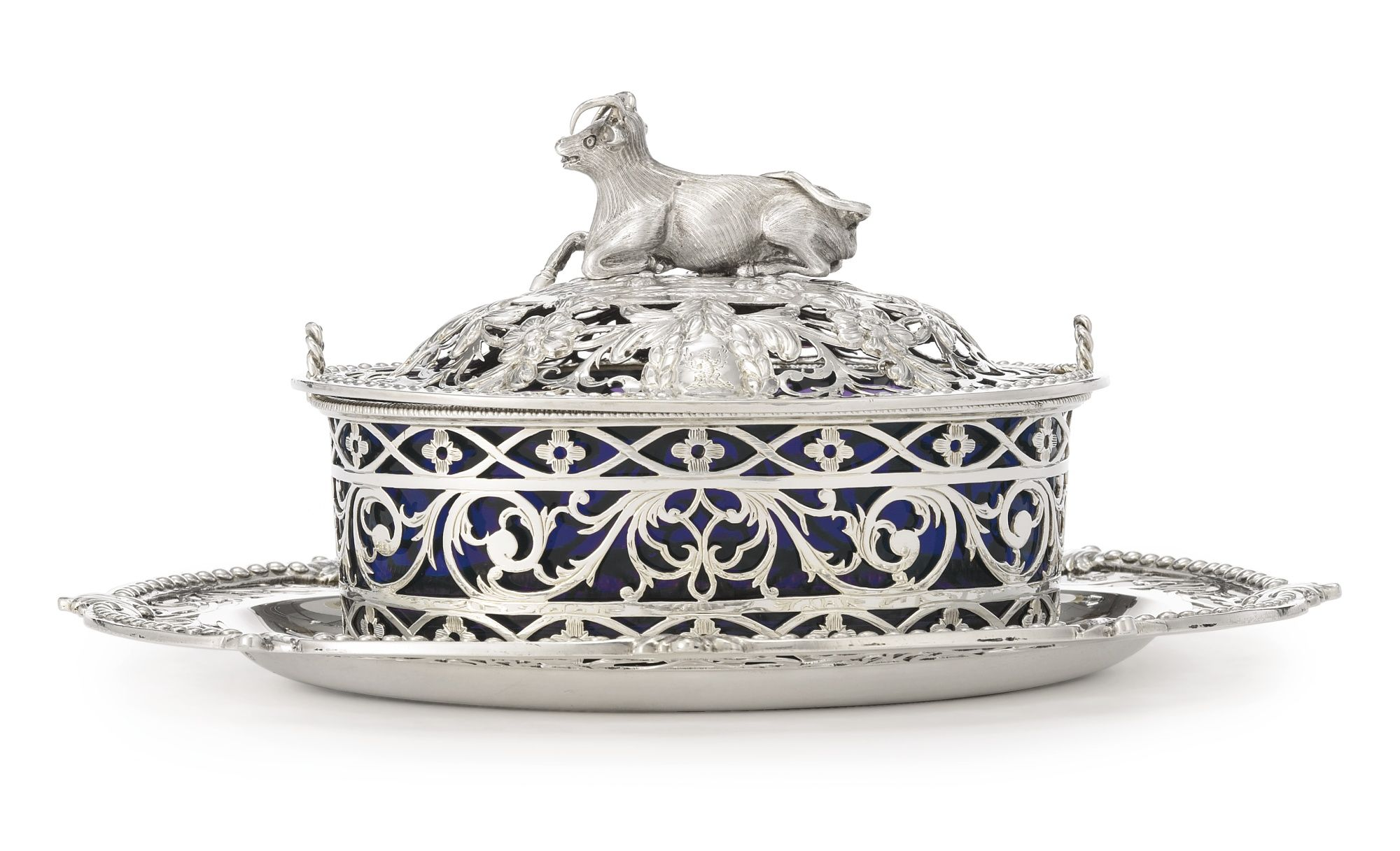 A III Silver Butter Dish, Cover and Stand, Edward