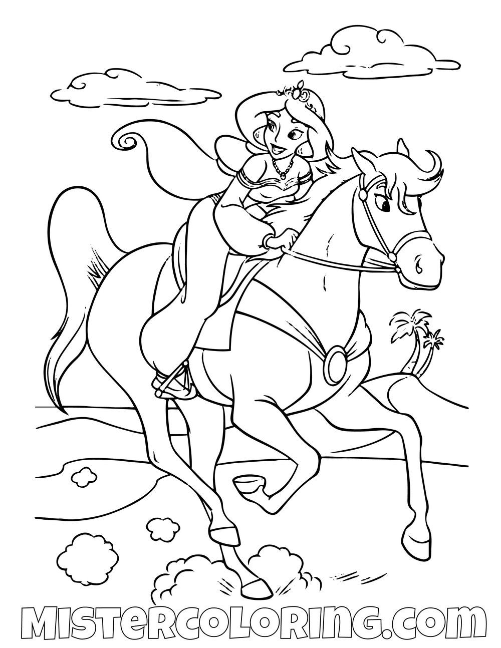 Princess Jasmine Riding Sahara Aladdin Coloring Page For Kids