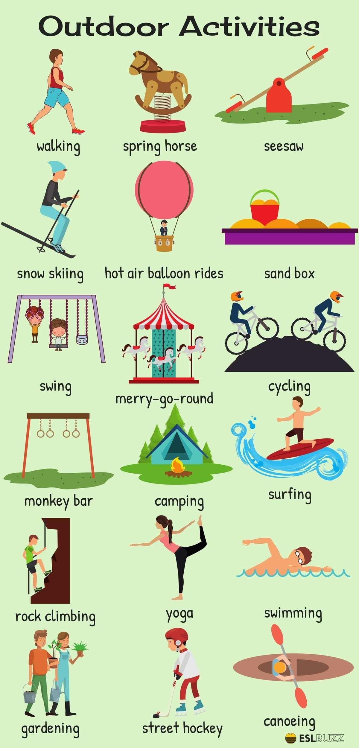 Outdoor Activities Vocabulary in English | Vocabulario en