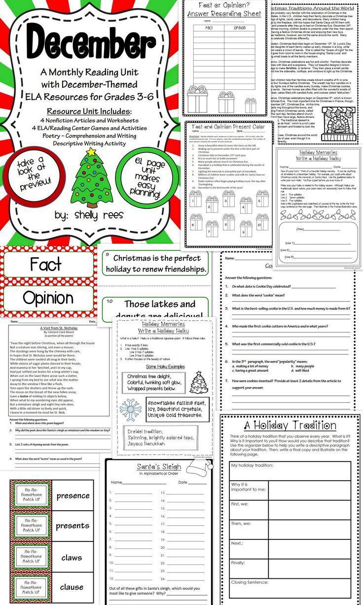 December Reading Ela Resource Packet Grades 4 5 And 6 Christmas And December Themed Packet With Inform Elementary Reading Informational Text Reading Unit