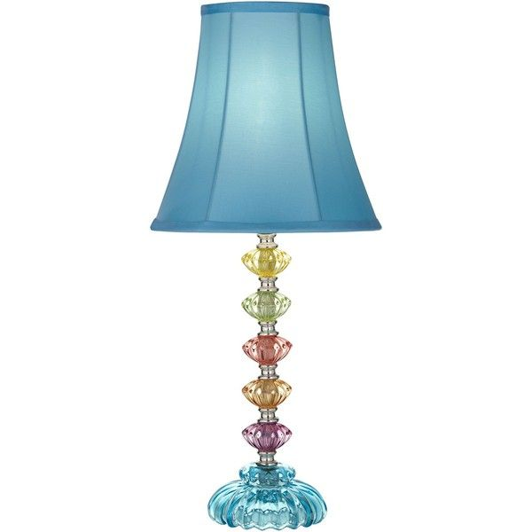 Universal Lighting And Decor Bohemian Blue Stacked Glass Table Lamp ($50) ❤  Liked On
