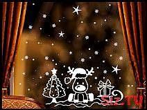 Aufkleber Fensterbild Elch Schlitten Weihnachten,  #aufkleber #Elch #Fensterbild #SCHLITTEN #…