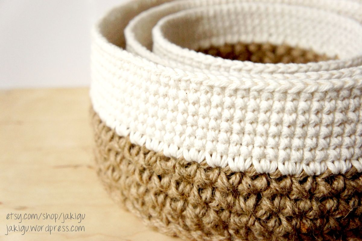 crochet pattern: round jute and cotton stacking baskets, and more ...