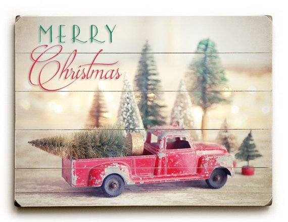 Primitive Farmhouse Vintage  PRINT ONLY 8x10 Christmas Traditions Red Truck Snow