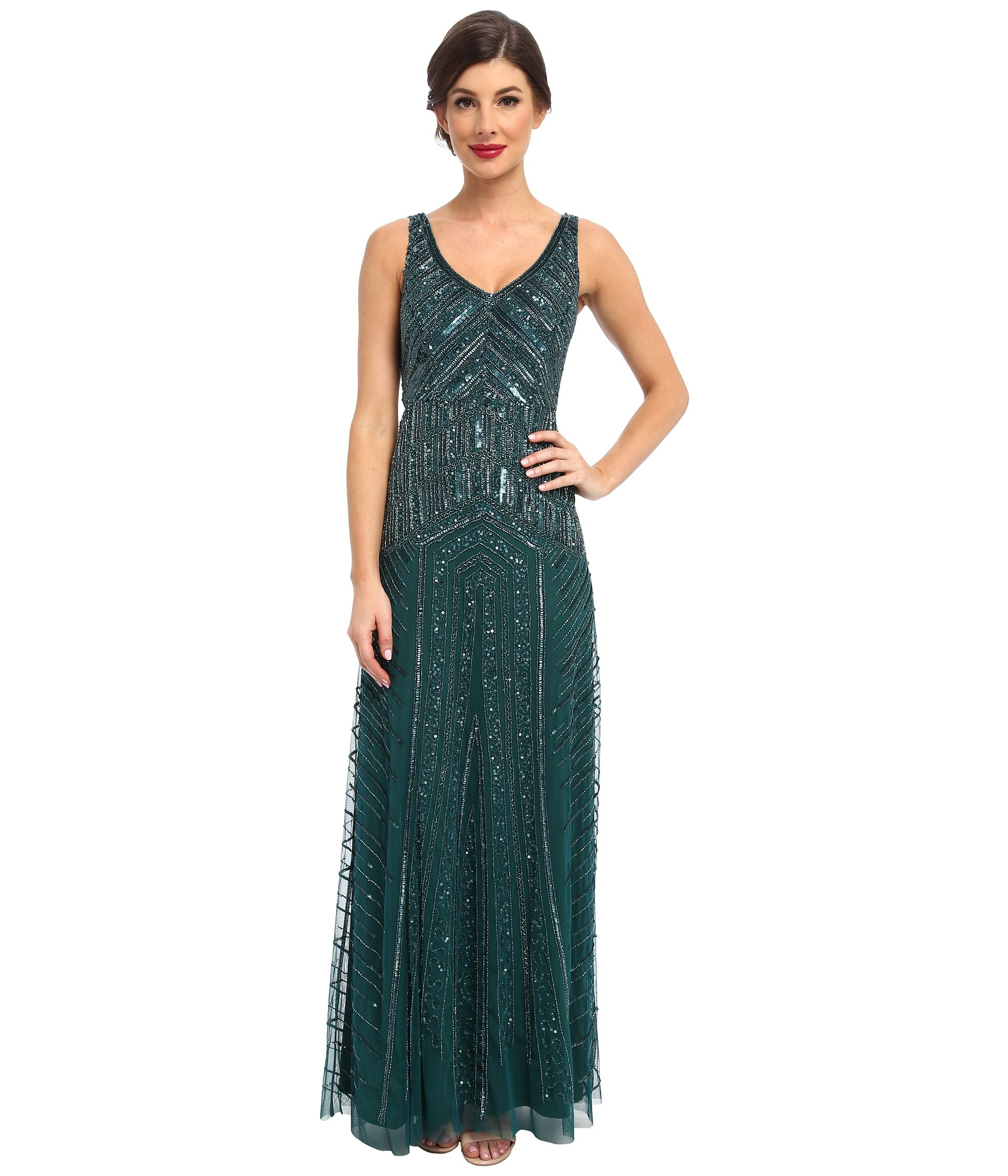 Adrianna Papell Long Beaded Dress Hunter - Zappos.com Free Shipping BOTH Ways