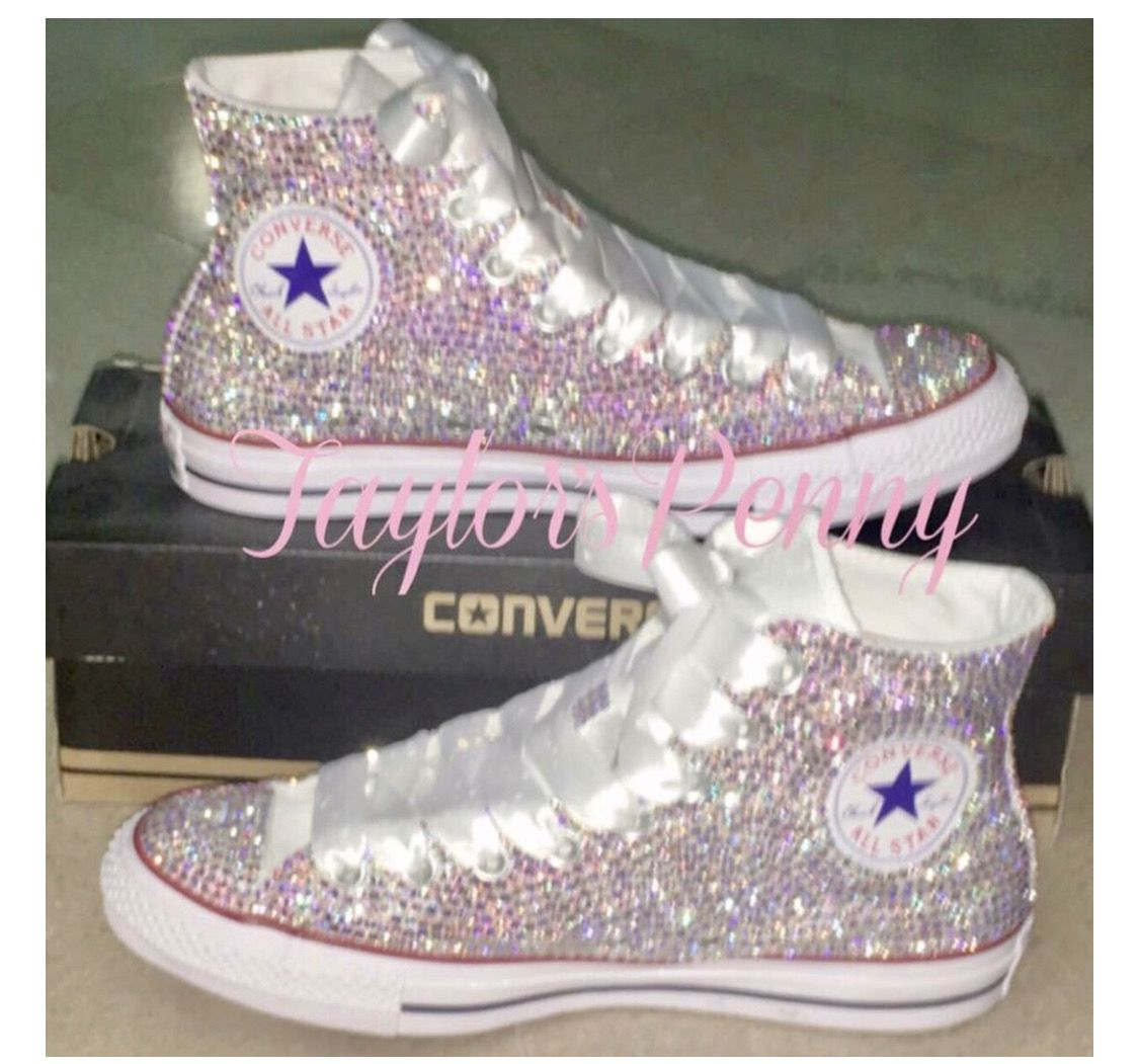3006a8f70251 Bling Converse crystallized with thousands of Swarovski AB top of the line  Crystals. A BrideSneakers