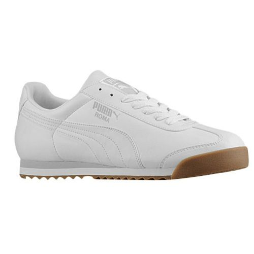 white puma roma with a brown sole. put some icing on yo feet