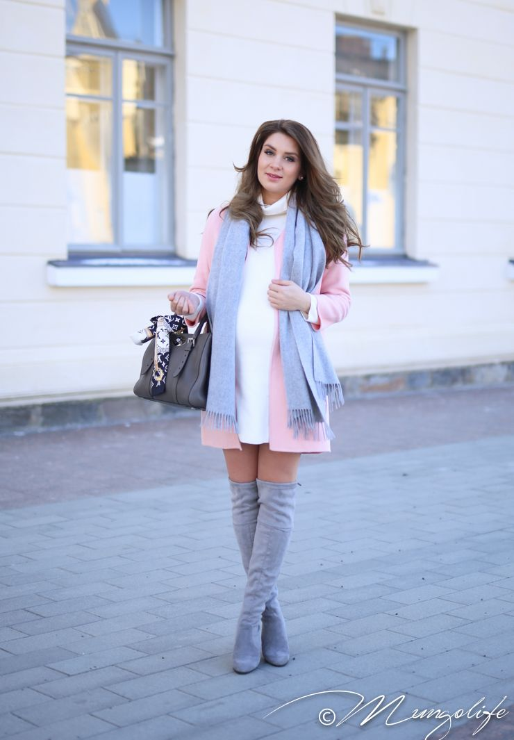 Sky scarf, blush coat, white maternity dress, concrete stretch suede OTK boots