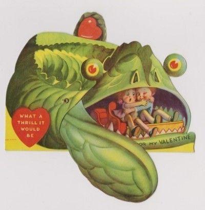 VINTAGE 1920'S 1930'S MONSTER FISH EEL MECHANICAL VALENTINE VALENTINES DAY CARD (02/16/2012)