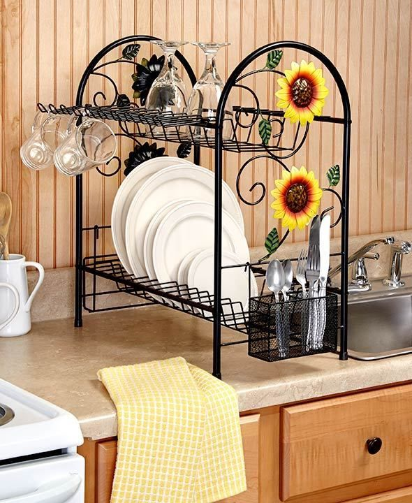 Dish rack 2 tier metal sunflower rooster apple country for Apple kitchen decoration