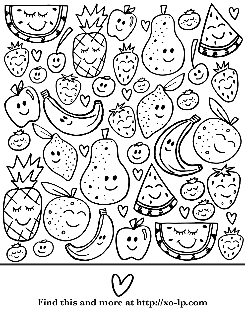 Printable Coloring Pages Perfect For Summer Break Print This Smiley Fruit Page For The Kids To En Fruit Coloring Pages Fall Coloring Pages Food Coloring Pages