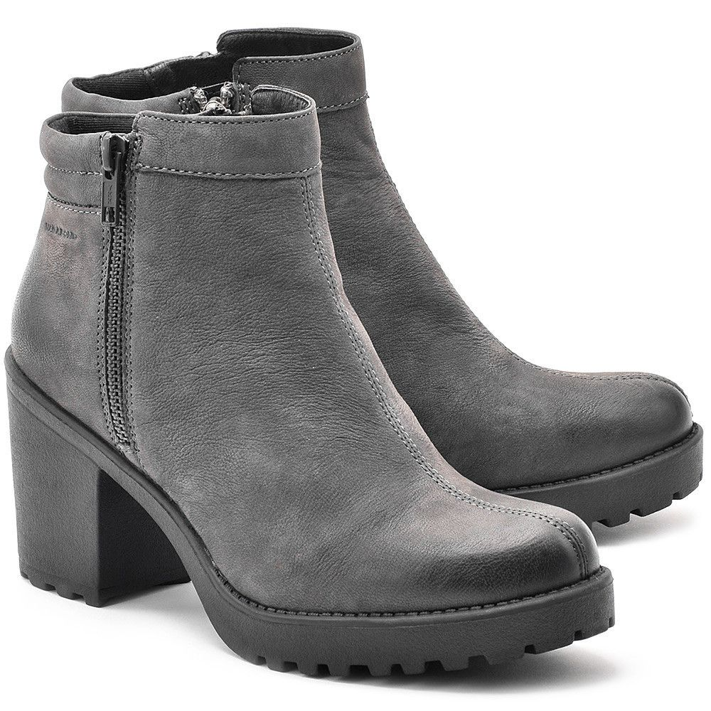 Vagabond Grace Szare Nubukowe Botki Damskie Botki Buty Kobiety Mivo Shoes Boots Ankle Boot