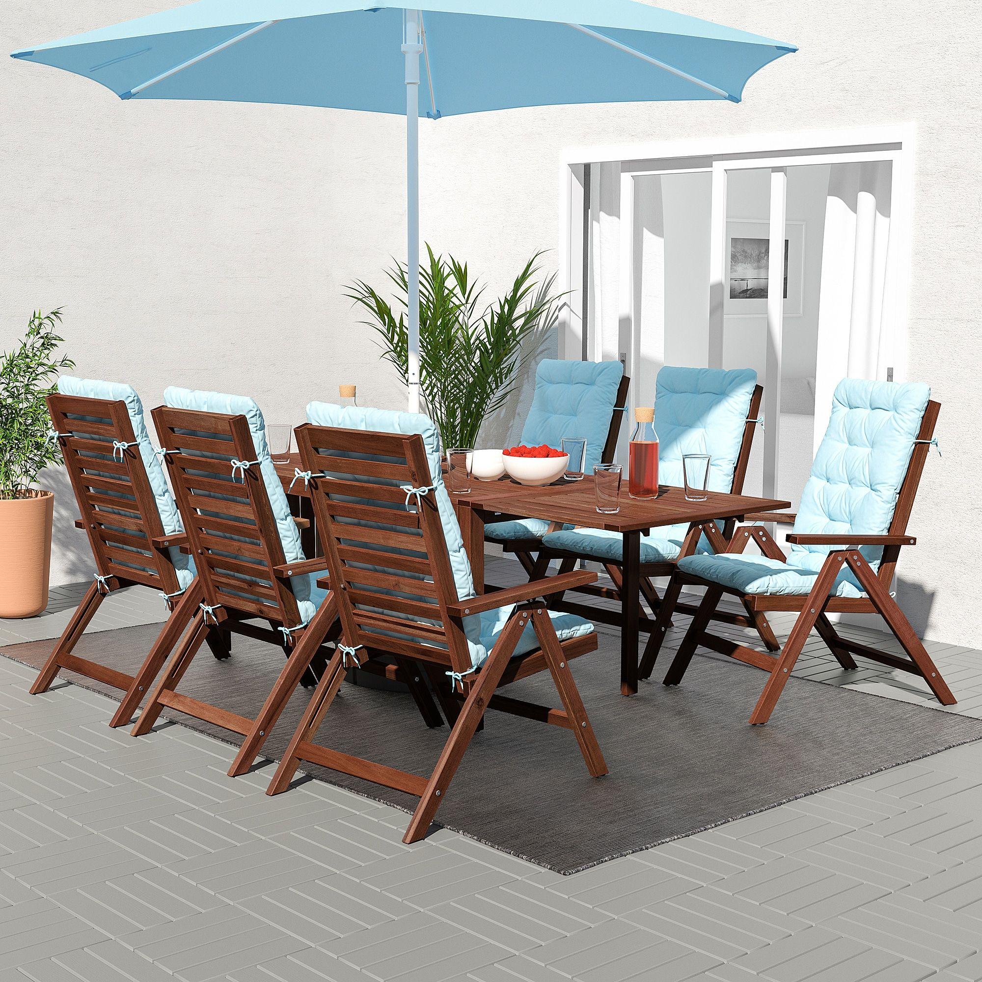Sensational Ikea Applaro Brown Stained Kuddarna Light Blue Table 6 Machost Co Dining Chair Design Ideas Machostcouk