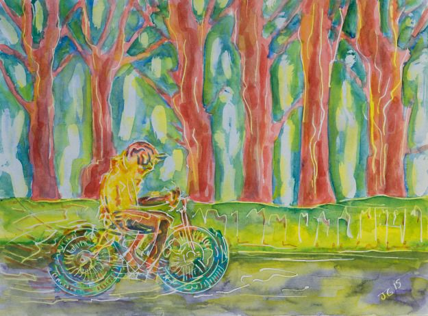 Beside The Trees, a cyclist rides along a line of trees.