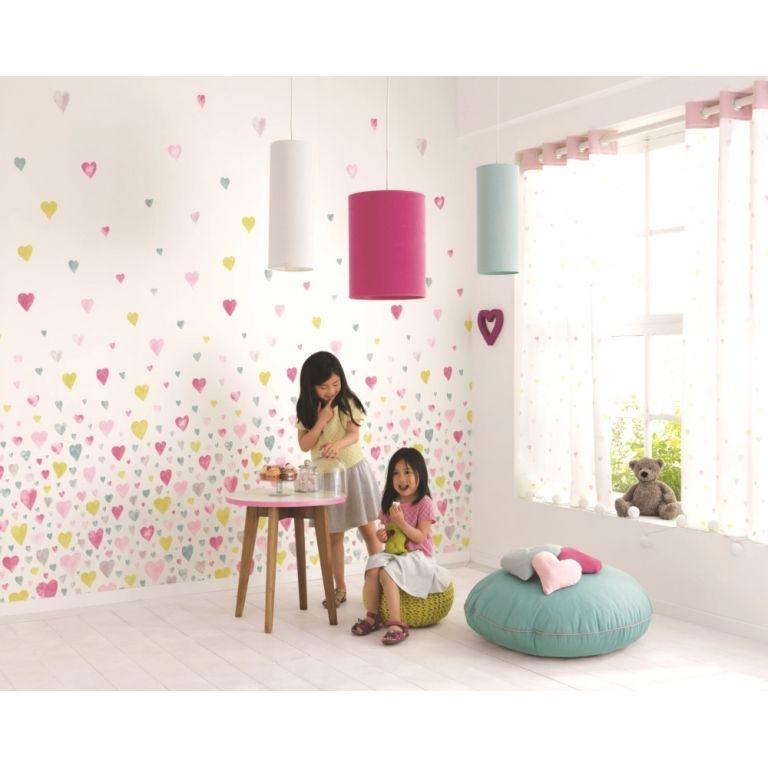 alice & paul' tapetenbild herzen rosa/lila/beige 100x280cm | ps - Kinderzimmer Lila Beige