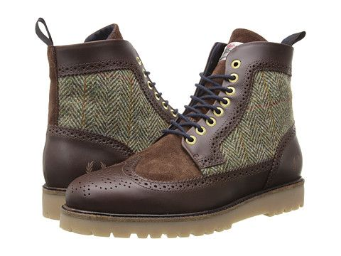 Fred perry northgate boot harris tweed leather dark chocolate