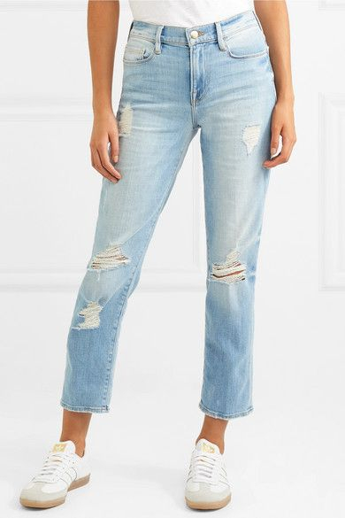 Le Nouveau Distressed High-rise Straight-leg Jeans - Dark denim Frame Denim Buy Cheap Popular For Sale Cheap Online Professional Many Kinds Of  Outlet With Paypal J8S2P52