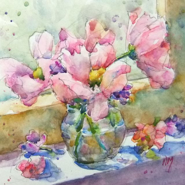 Flower Power Watercolour Painting By Nora Macphail Floral