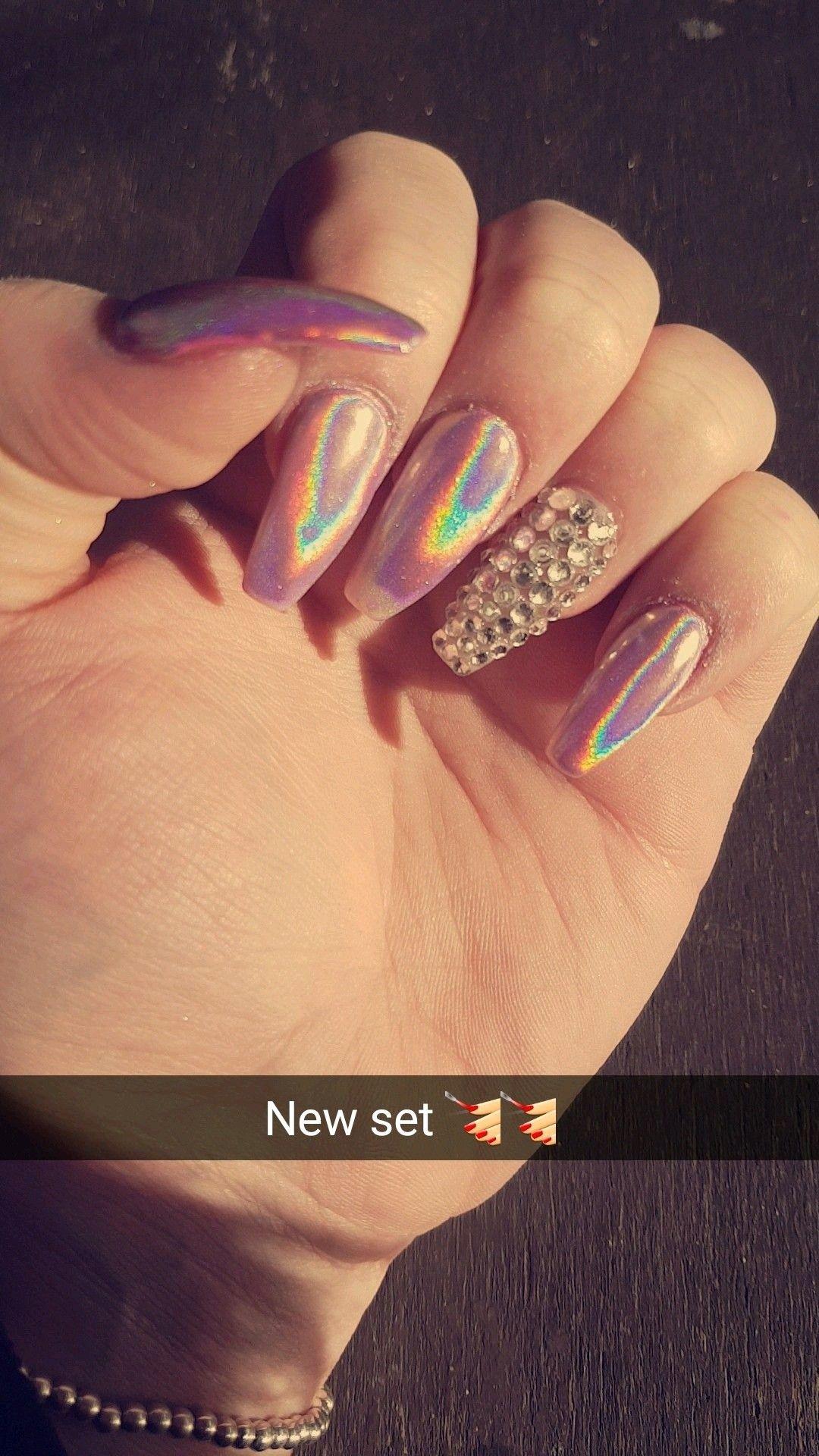 Short nails Diamond nails Holographic nails | nails | Pinterest ...