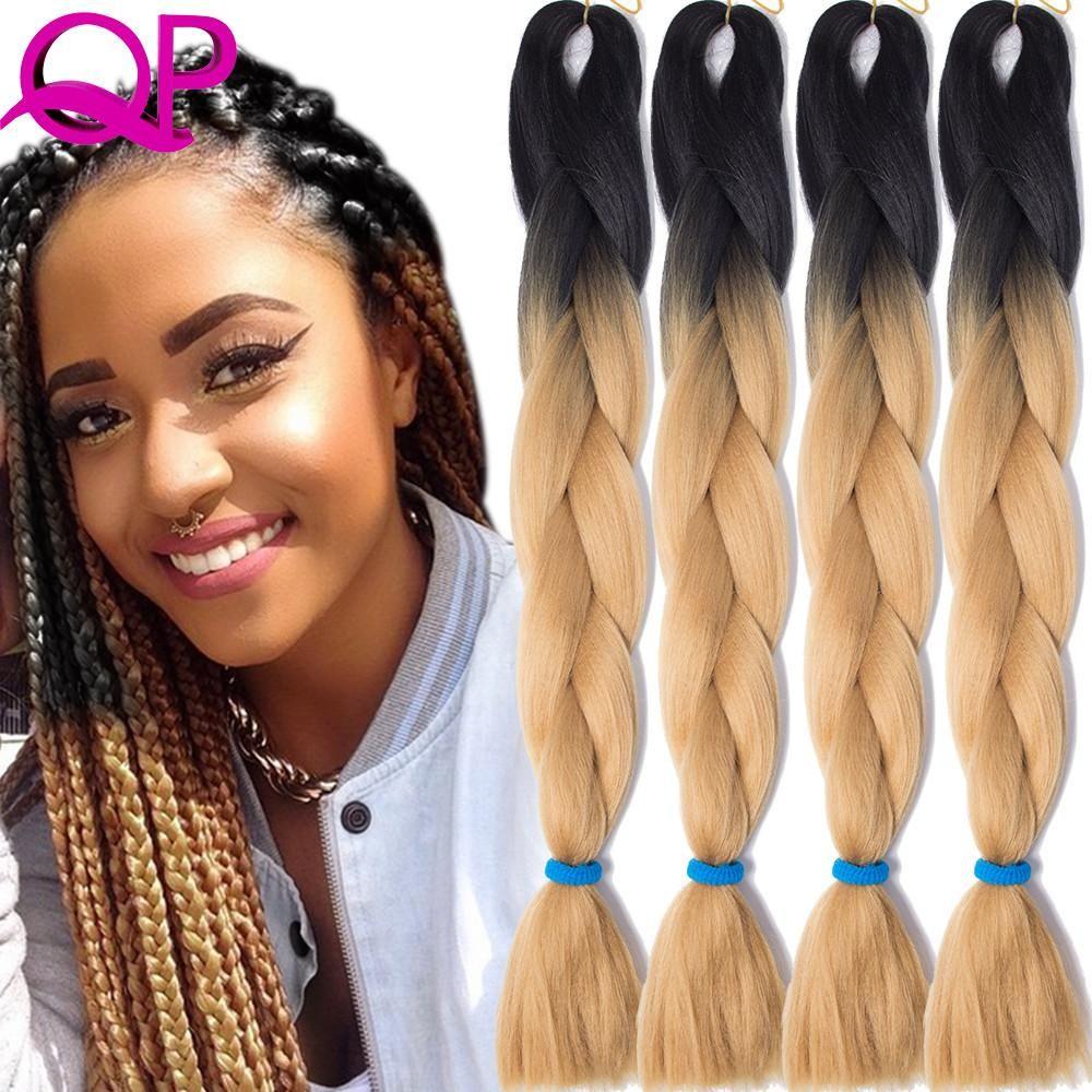 Hair Braids Qp Hair Green Ombre Kanekalon Braiding Hair 24 Inch Jumbo Braids Black Green Braid Synthetic Extensions Crochet Twist Hair 10pcs Hair Extensions & Wigs
