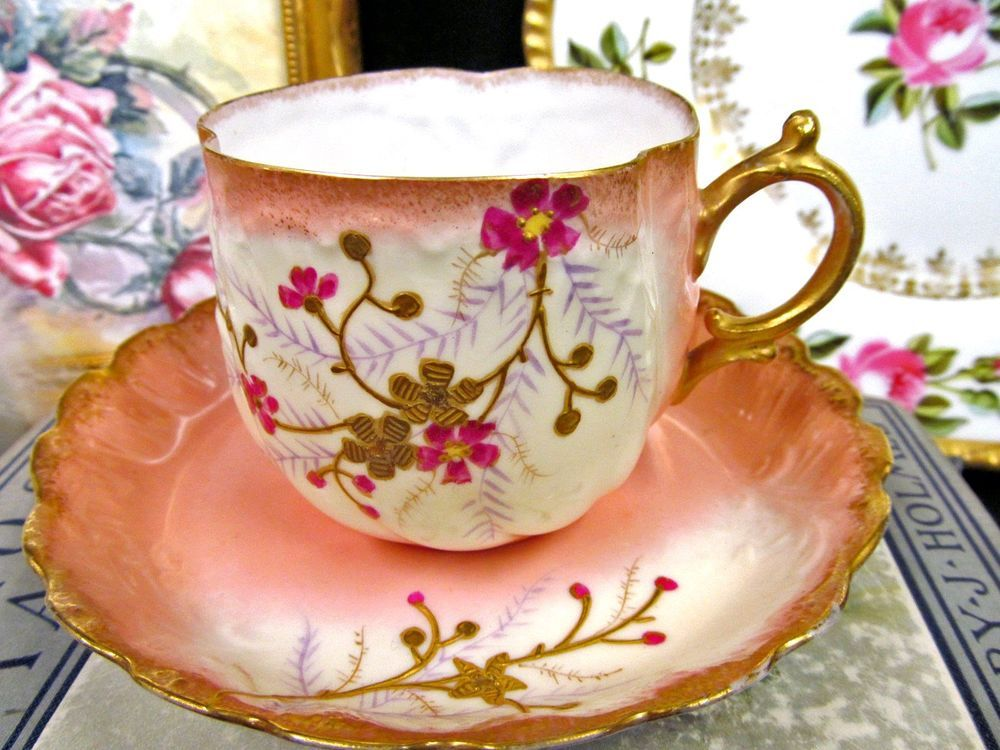 ELITE WORKS LIMOGES PINK ROSES FLORAL FANCY GOLD TEA CUP AND SAUCER