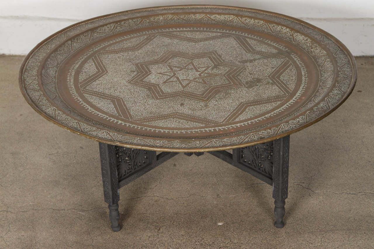 Moroccan Round Brass Tray Coffee Table Moroccan Table Moroccan