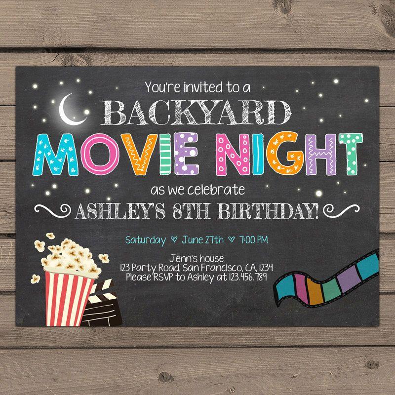 Attirant Movie Night Birthday Invitation Under The Stars Invitation Outdoor Movie  Party Popcorn Stars Backyard Movie Party Digital PRINTABLE ANY AGE