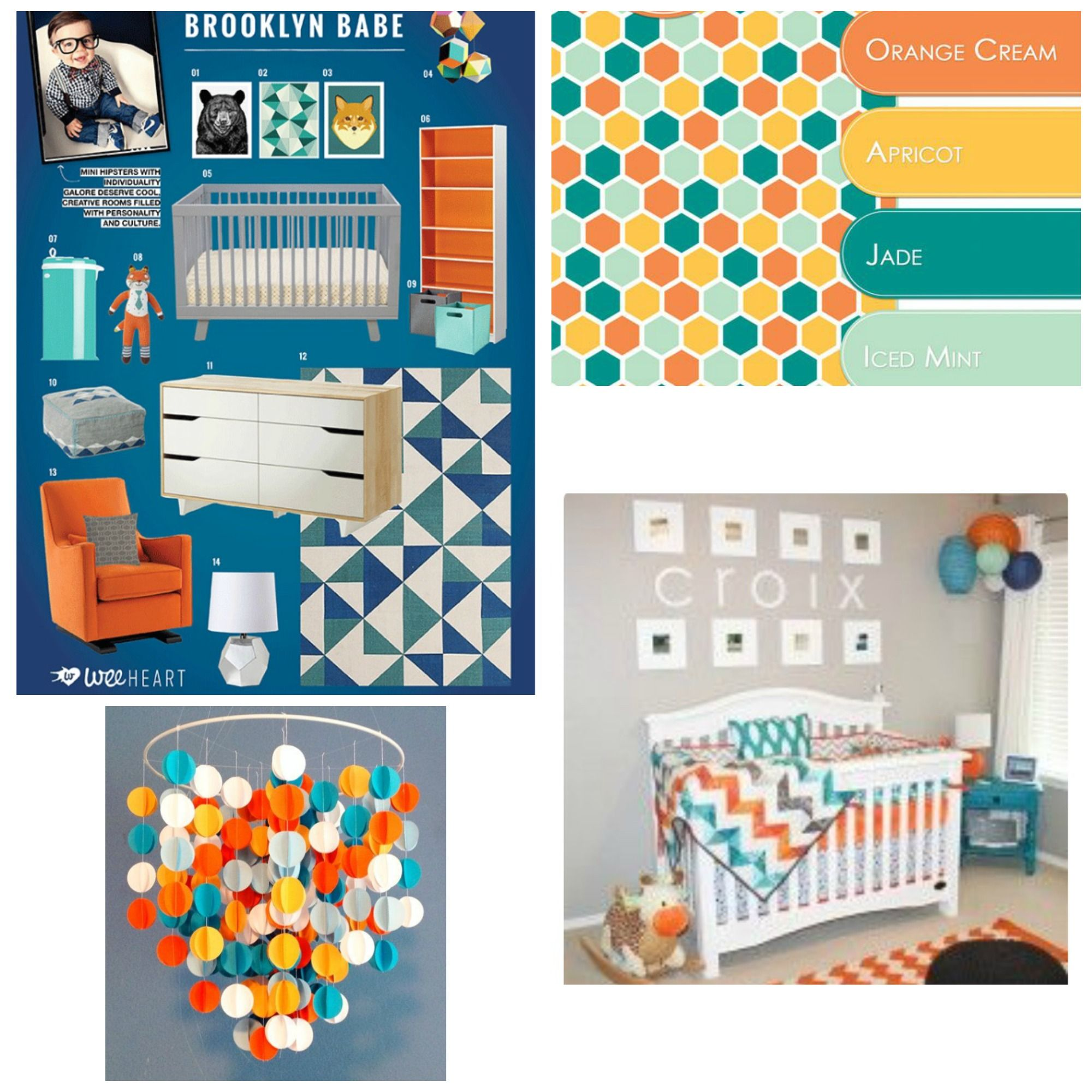 Modern Rustic Gender Neutral Nursery ideas featuring our modern woodland  themed baby mobile. Such an easy color palette to use for baby boy or girl  rooms.
