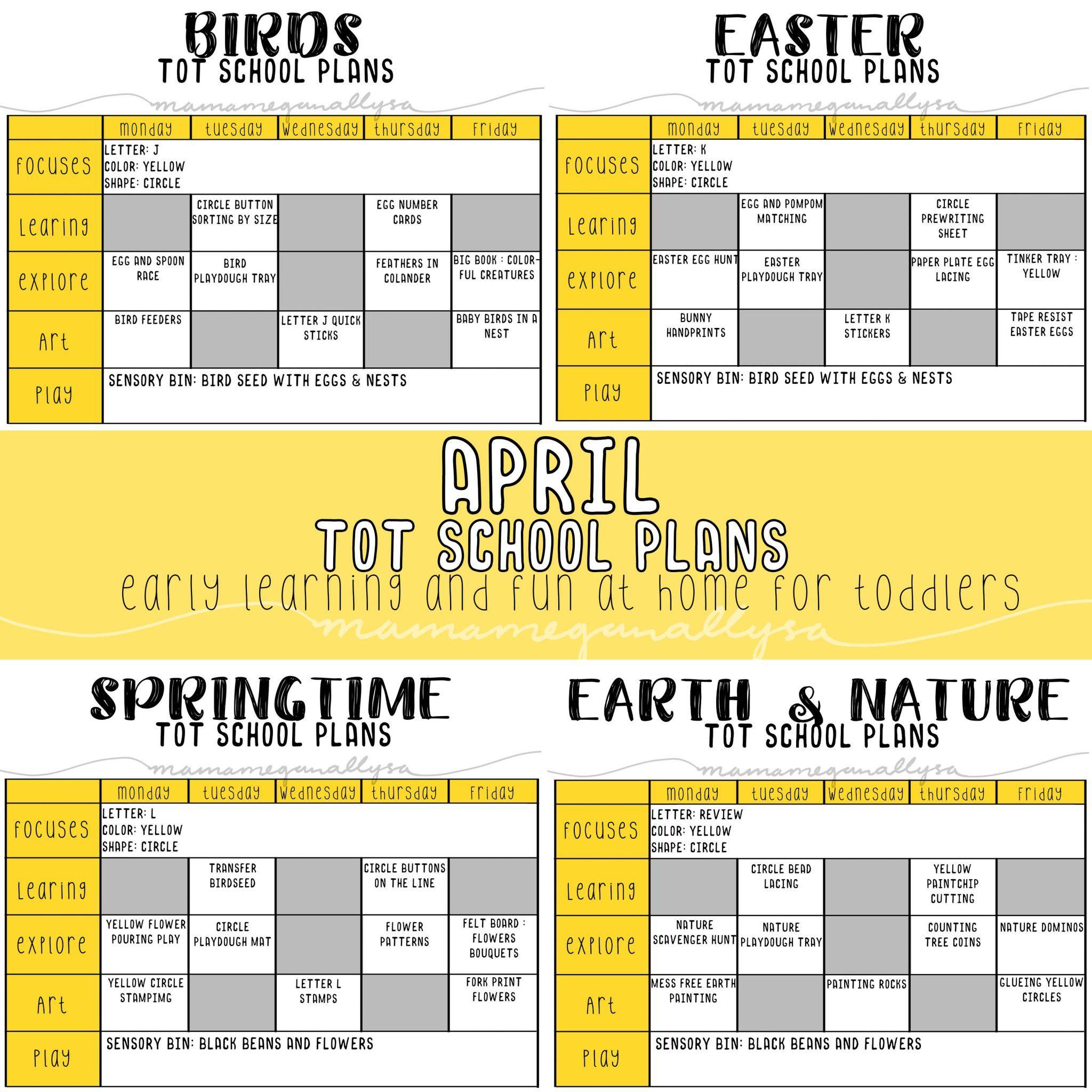 April Tot School Plans For Springtime Fun