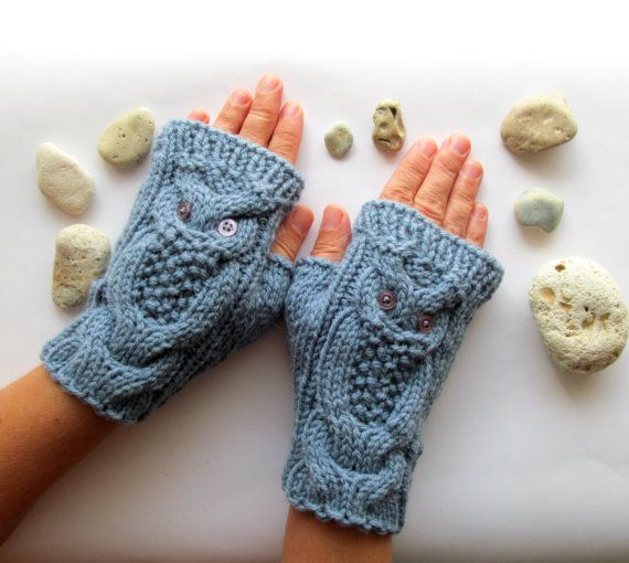 Owl Denim Blue Hand Knit Cable Pattern Fingerless by nastiadi ...