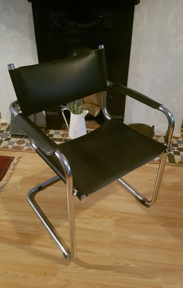 Vintage Mid Century Black Leather And Chrome Directors Chair