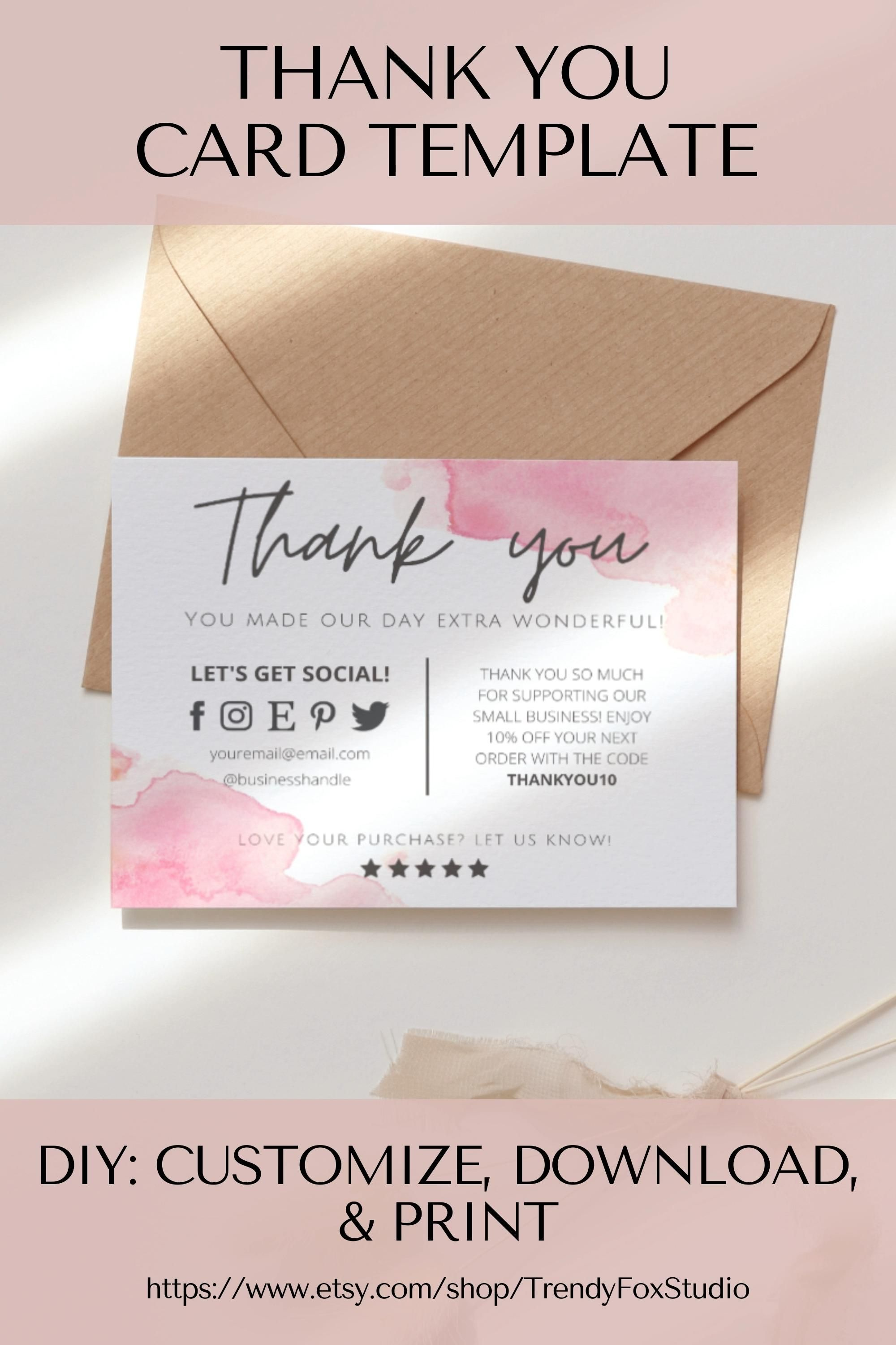 5.5 x 4.25 Cards DIGITAL DOWNLOAD Editable Simple Minimalist Template Design Thank You Business /& Candle Care Card Template