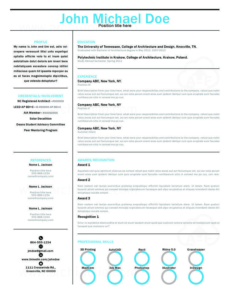 Resume    Minimal Theme   Customizable  Professional Architecture - art resume template