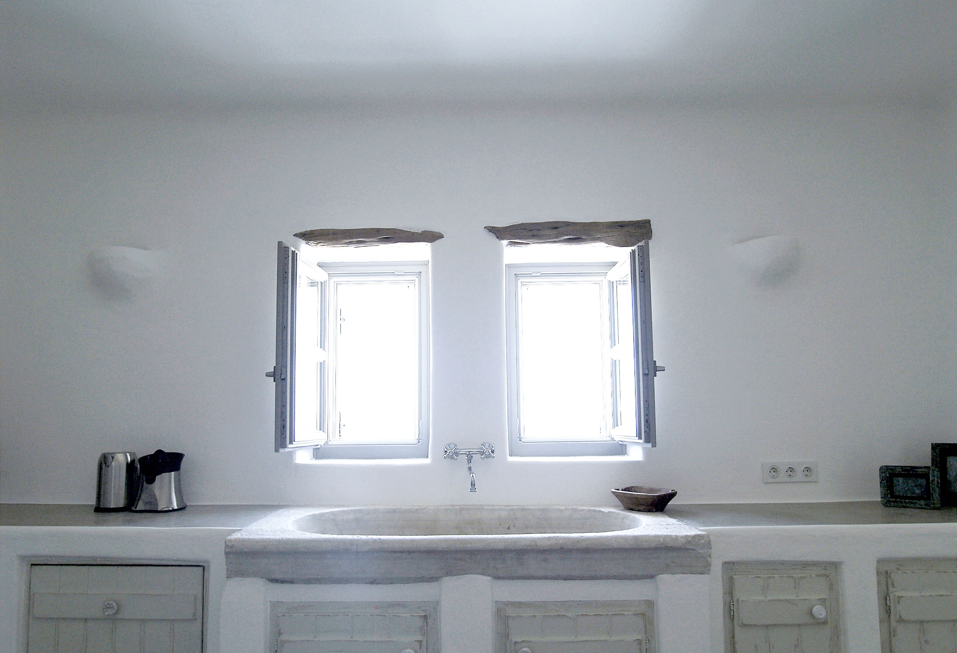 Paros, Greece. Built cupboards and an amazing marble sink!   Country ...