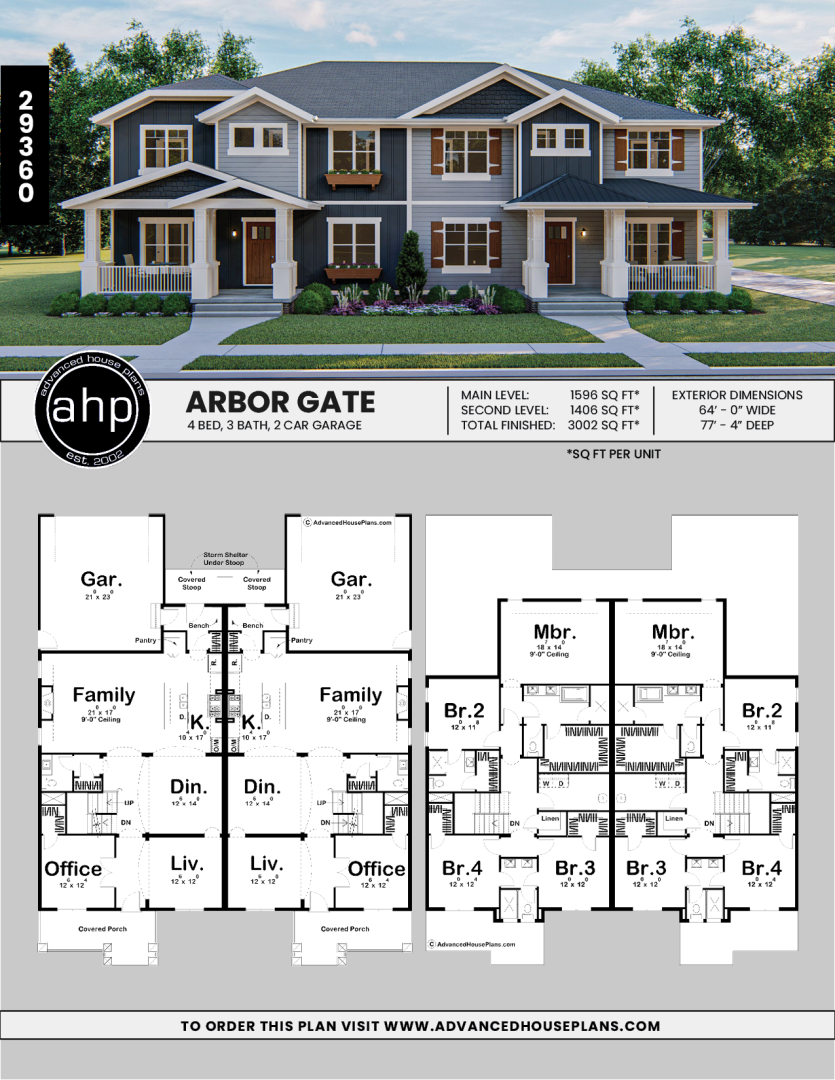 Charming Craftsman Duplex In 2020 Family House Plans Craftsman House Plan Craftsman House
