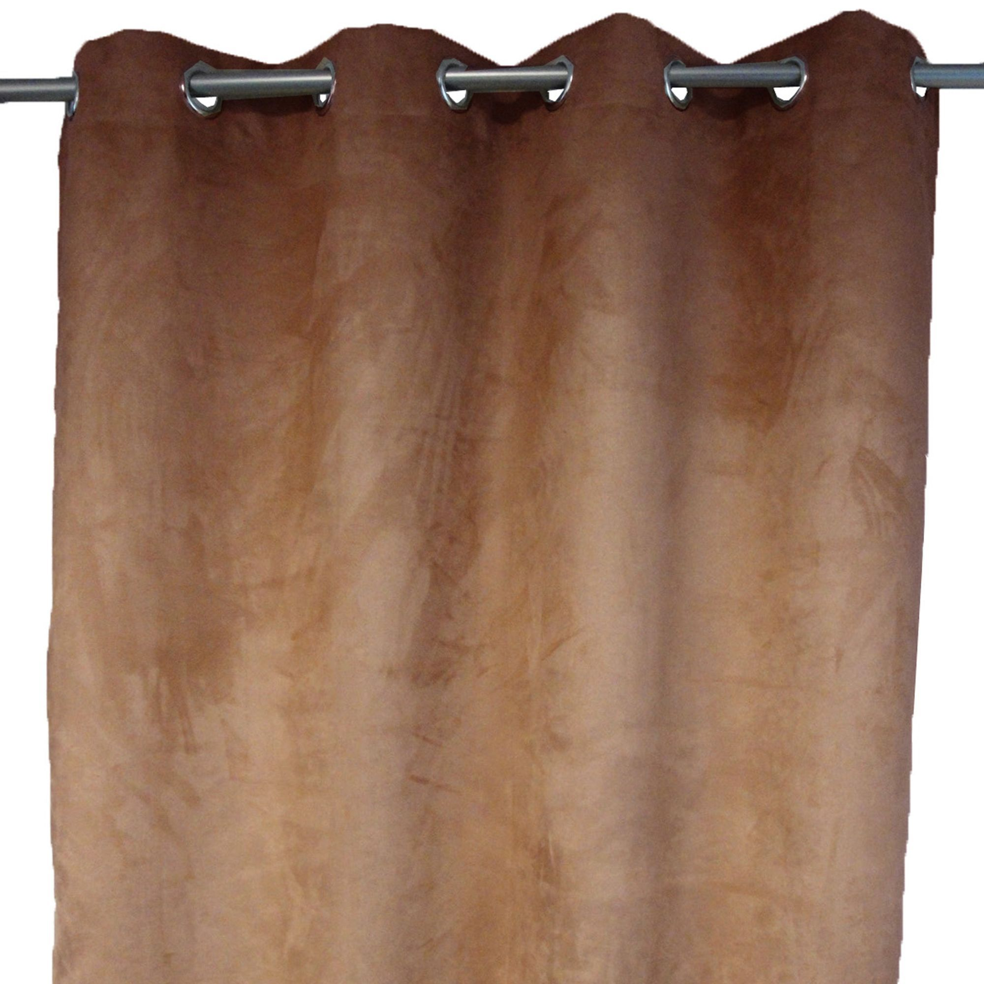 Rideau marron à œillets toucher suédine Chesnut - Suède - Les ...