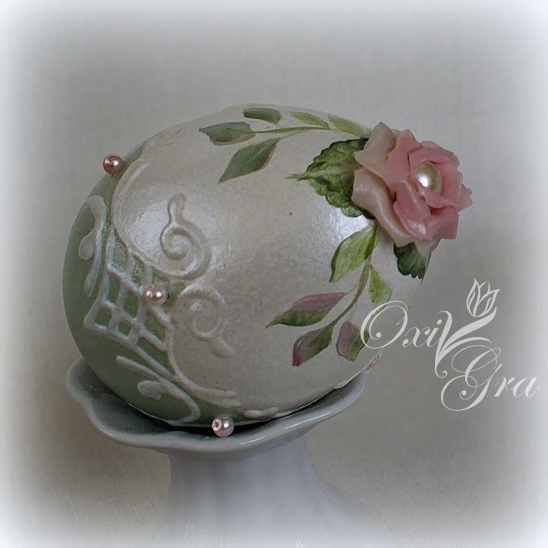 Recznie Malowane Rozyczki Wylepilam Z Zimnej Porcelany Nr 2 Egg Shell Art Egg Art Easter Crafts
