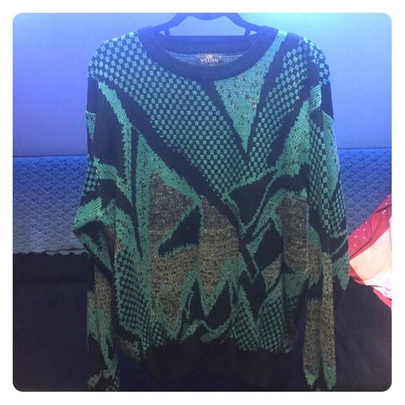 Vintage 80s Pattern Sweater XL and tall. Probably from the 80s or 90s. Fits well as an slightly oversized sweater on me (size 10.) Sir William Sweaters Crew & Scoop Necks