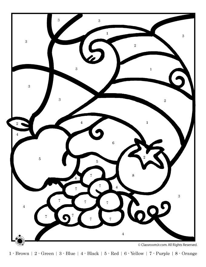 thanksgiving color by number printables thanksgiving cornucopia color by number classroom jr - Thanksgiving Pictures To Color 2