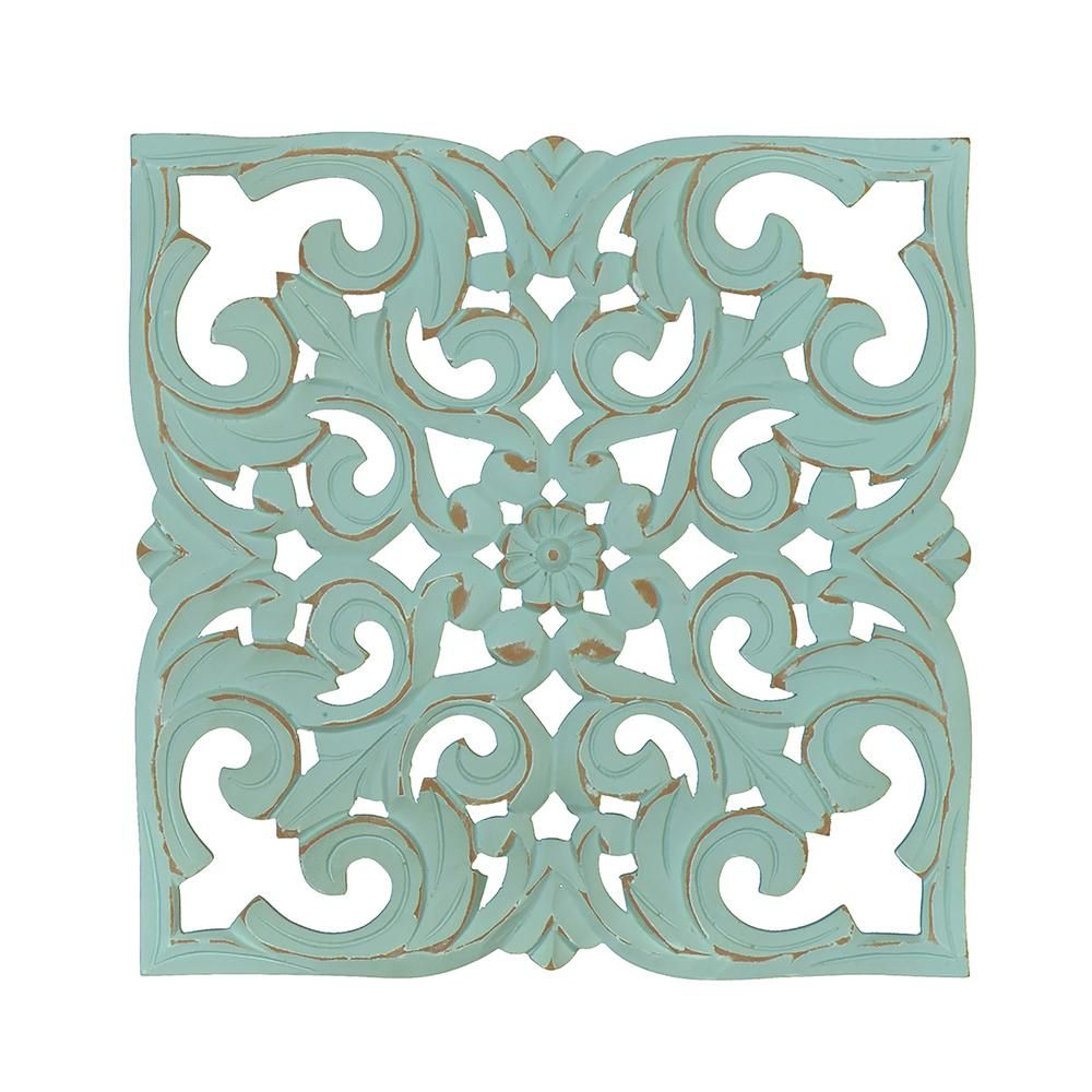 Fetco Denzel Teal Carved Wood Medallion Blue In 2019 Products