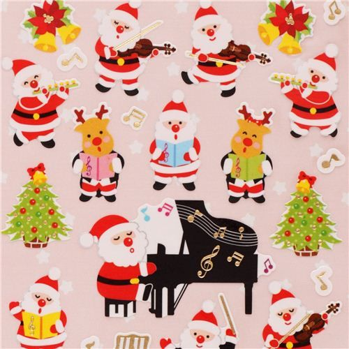 #christmas cute Christmas music orchestra stickers with gold metallic from Japan  1