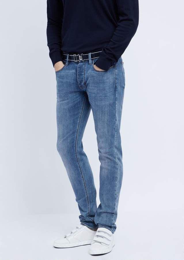 829e5e39b6d6 Emporio Armani Slim-Fit J75 Jeans In Silk And Cotton Denim With Belt ...