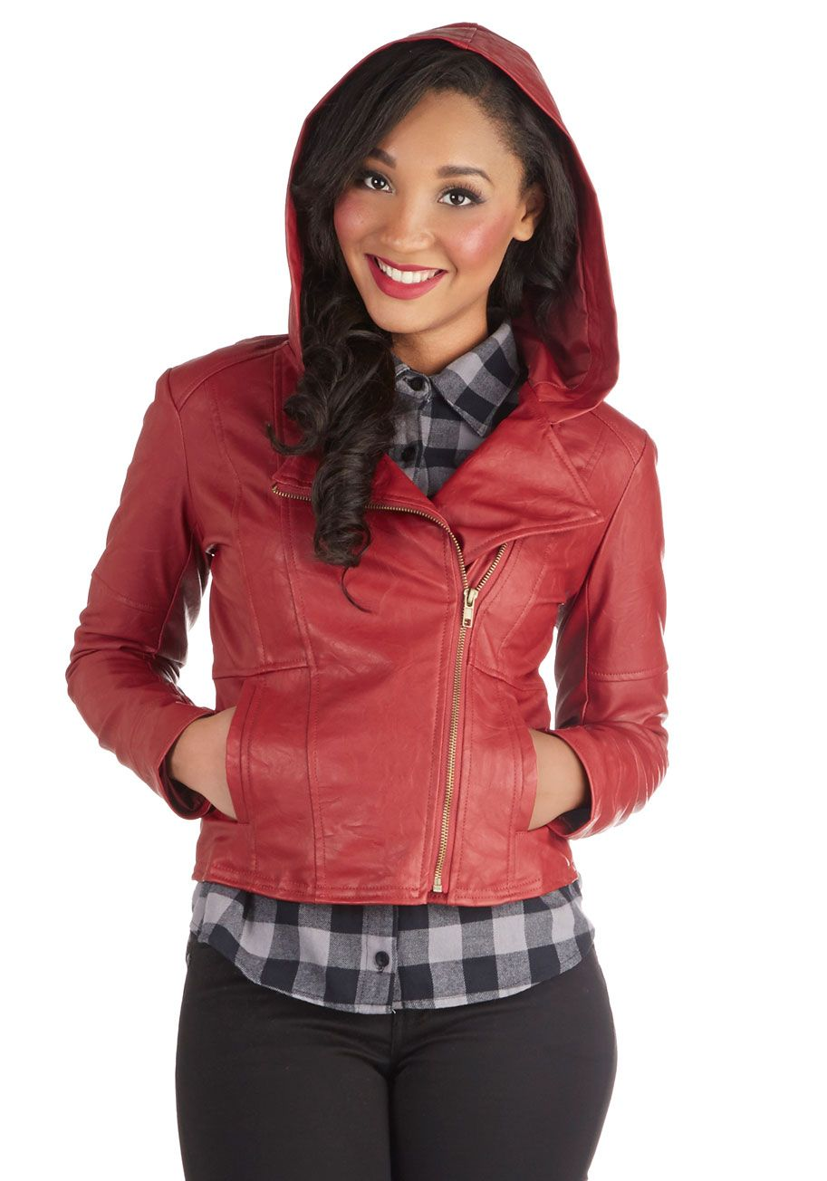 480262811d337b Hit the Bricks Jacket in Red. When closing the off-center zip of this Jack  by BB Dakota jacket over your low-back black tee, paired with svelte noir  ...