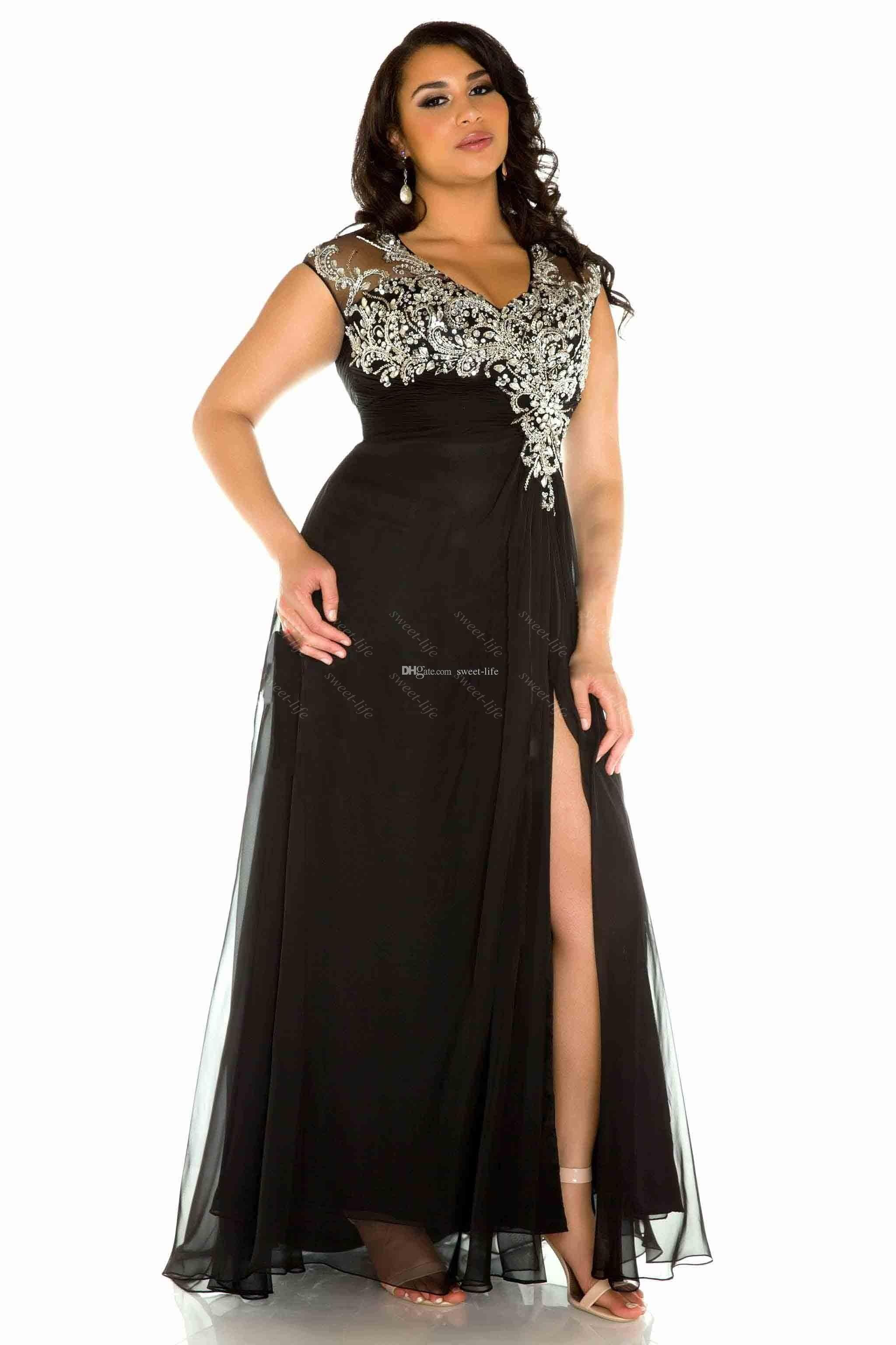 2015 Sexy Plus Size Evening Gowns Black V Neck Tulle Beading High ...