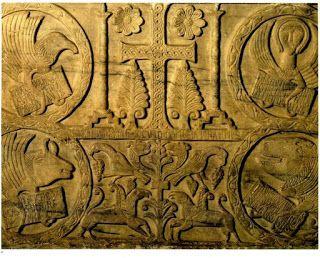 Arte lombardo en Italia (568-774) Baptisterio de CALIXTO. Cividalle de Friuli. Placa de la base alusiva a SIGUALDO.