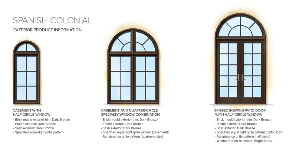 Spanish Colonial Home Style Exterior Window Door Details