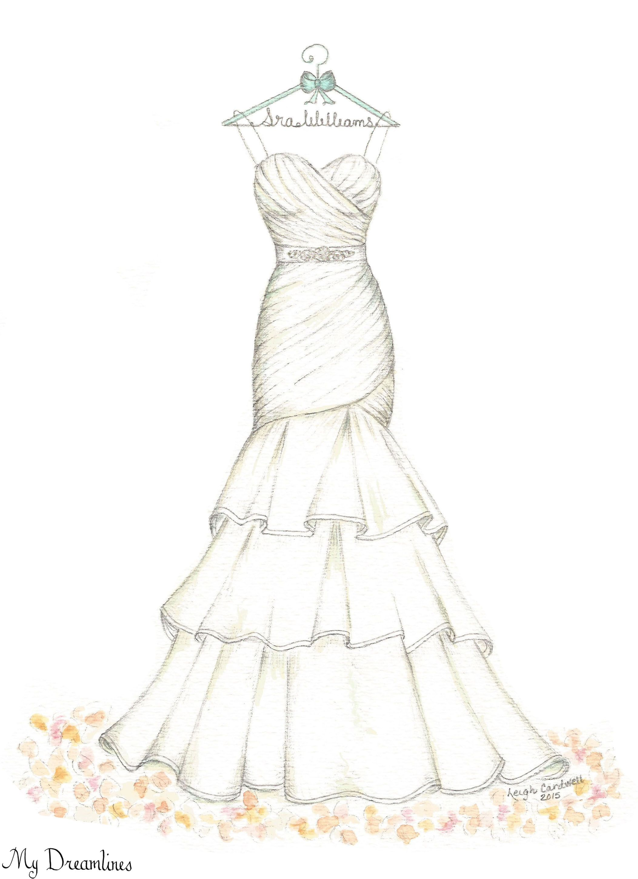 Dreamlines Wedding Dress Sketch Oneyearanniversarygift Anniversarygift Weddinggift Www Mydreamlines
